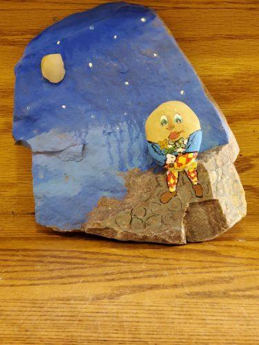 Humpty Dumpty painted on a rock