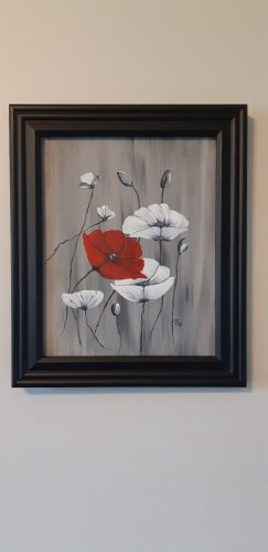 A painting of red and white poppies