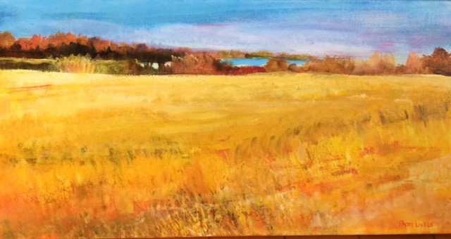 A painting of a yellow field