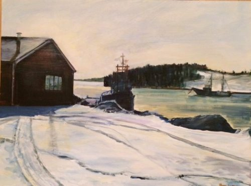 A painting of Lunenburg Harbour in winter