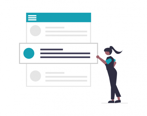 A vector image of a woman adding updates to her website.